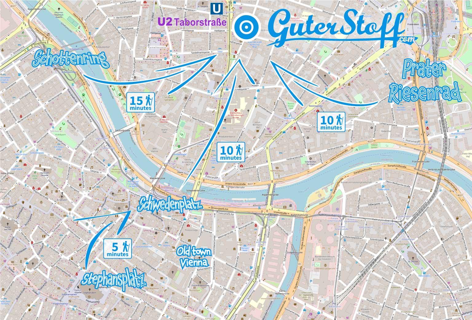 Illustrierte Karte Wege und Gehzeiten zu Guter Stoff Wien vom Prater Riesenrad, Schwedenplatz, Stephansplatz und Schottenring