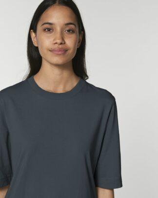 Guter Stoff Damen boxy heavy T-Shirt Fringer India Ink Grey bio fair vegan