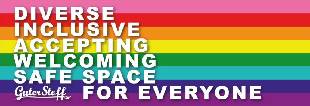Rainbow Flag mit Text Diverse, Inclusive, Accepting, Welcoming, Safe Space, For Everyone